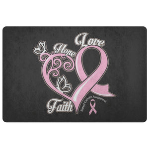 Hope Love Faith Elegant Breast Cancer 18X26 Thin Indoor Door Mat Entryway Rug-Doormat-Black-JoyHip.Com