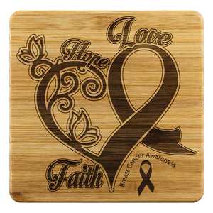 Hope Love Faith Elegant Breast Cancer Awareness Drink Coasters Set Gifts Idea-Coasters-Bamboo Coaster - 4pc-JoyHip.Com