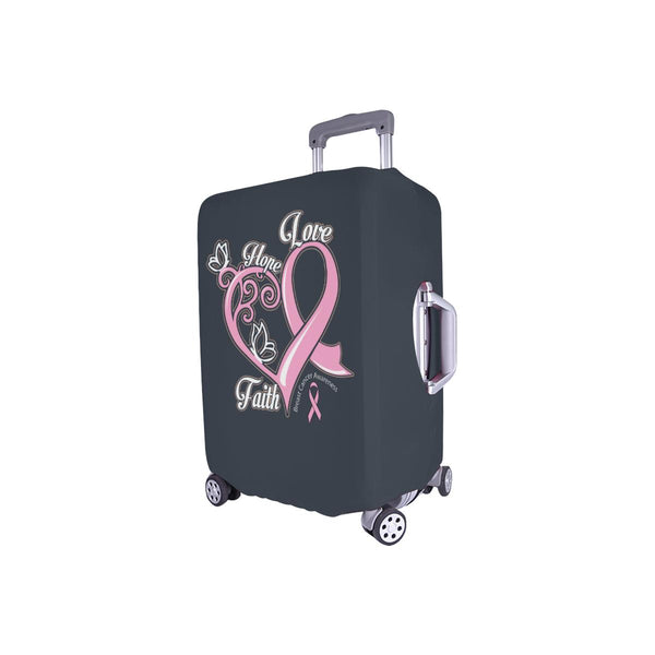 Hope Love Faith Elegant Breast Cancer Awareness Travel Luggage Cover Suitcase-JoyHip.Com