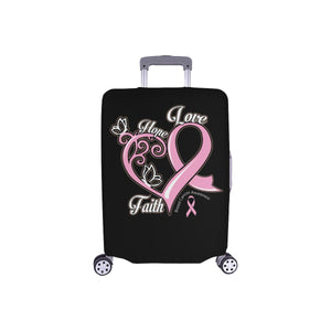 Hope Love Faith Elegant Breast Cancer Awareness Travel Luggage Cover Suitcase-S-Black-JoyHip.Com
