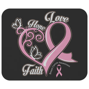 Hope Love Faith Elegant Breast Cancer Comfort Gifts For Chemo Patients Mouse Pad-Mousepads-Black-JoyHip.Com