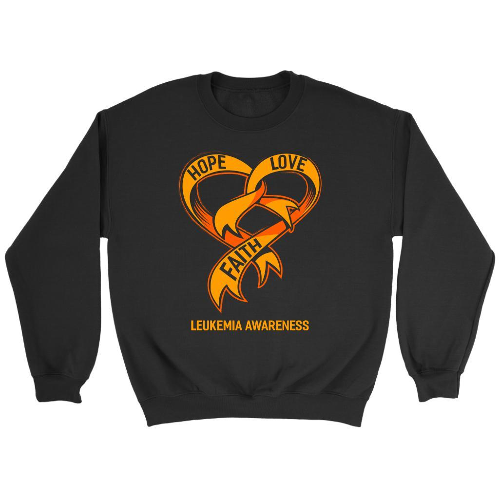 Hope Love Faith Leukemia Awareness Orange Ribbon Crewneck Sweatshirt-T-shirt-Crewneck Sweatshirt-Black-JoyHip.Com