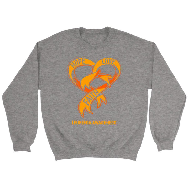 Hope Love Faith Leukemia Awareness Orange Ribbon Crewneck Sweatshirt-T-shirt-Crewneck Sweatshirt-Grey-JoyHip.Com