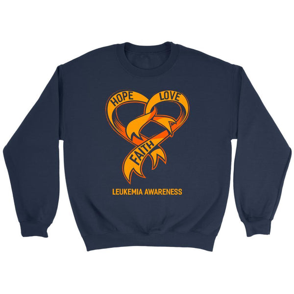 Hope Love Faith Leukemia Awareness Orange Ribbon Crewneck Sweatshirt-T-shirt-Crewneck Sweatshirt-Navy-JoyHip.Com