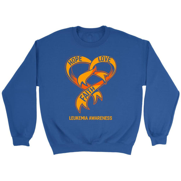 Hope Love Faith Leukemia Awareness Orange Ribbon Crewneck Sweatshirt-T-shirt-Crewneck Sweatshirt-Royal Blue-JoyHip.Com