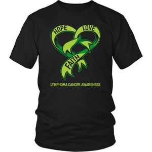 Hope Love Faith Lymphoma Awareness Lime Green Ribbon Awesome Cool Gift TShirt-T-shirt-District Unisex Shirt-Black-JoyHip.Com