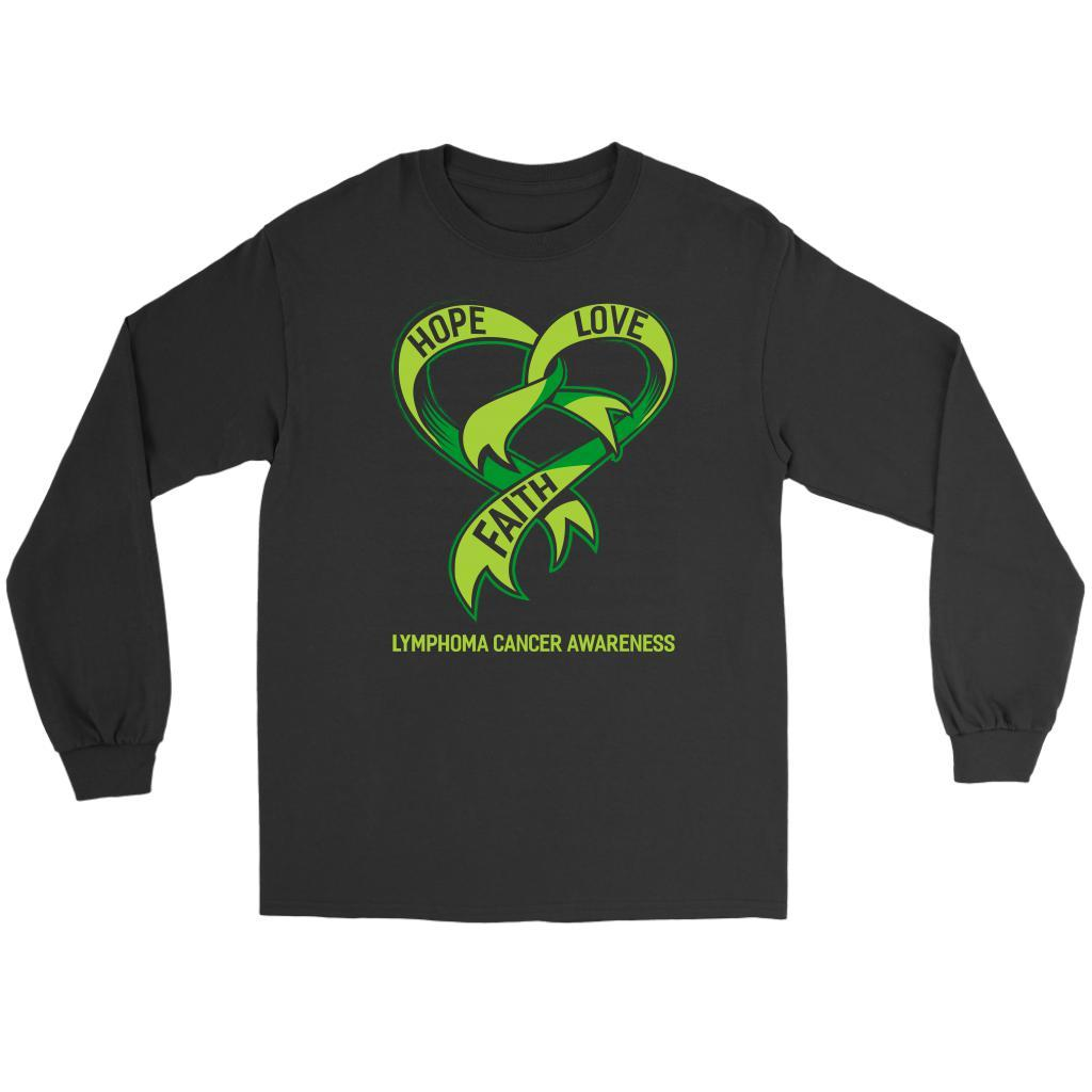 Hope Love Faith Lymphoma Awareness Lime Green Ribbon Awesome Gift Long Sleeve-T-shirt-Gildan Long Sleeve Tee-Black-JoyHip.Com