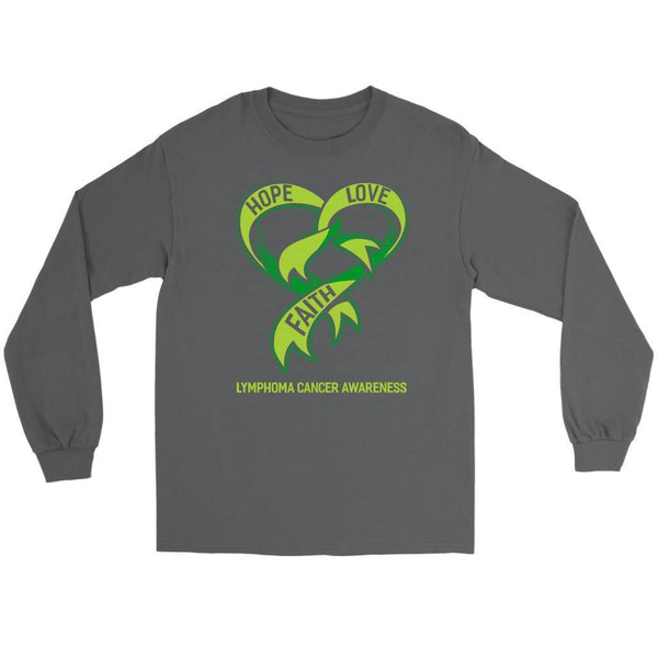 Hope Love Faith Lymphoma Awareness Lime Green Ribbon Awesome Gift Long Sleeve-T-shirt-Gildan Long Sleeve Tee-Grey-JoyHip.Com