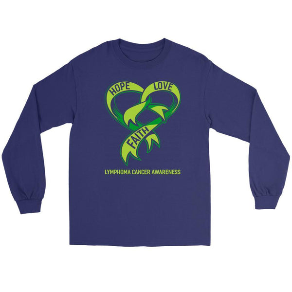 Hope Love Faith Lymphoma Awareness Lime Green Ribbon Awesome Gift Long Sleeve-T-shirt-Gildan Long Sleeve Tee-Purple-JoyHip.Com