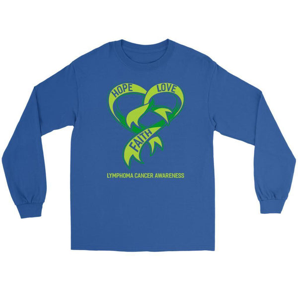 Hope Love Faith Lymphoma Awareness Lime Green Ribbon Awesome Gift Long Sleeve-T-shirt-Gildan Long Sleeve Tee-Royal Blue-JoyHip.Com