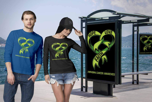 Hope Love Faith Lymphoma Awareness Lime Green Ribbon Awesome Gift Long Sleeve-T-shirt-JoyHip.Com