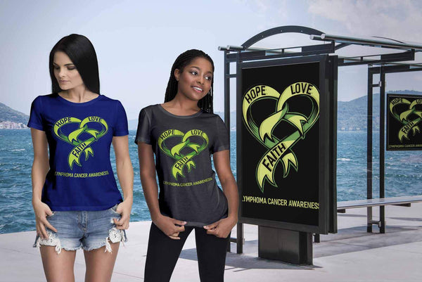 Hope Love Faith Lymphoma Awareness Lime Green Ribbon Awesome Gift Women TShirt-T-shirt-JoyHip.Com