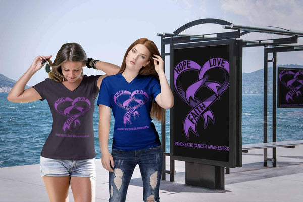 Hope Love Faith Pancreatic Cancer Awareness Purple Ribbon Gift VNeck TShirt-T-shirt-JoyHip.Com