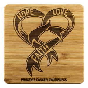 Hope Love Faith Prostate Cancer Awareness Cool Drink Coasters Set Gifts Idea-Coasters-Bamboo Coaster - 4pc-JoyHip.Com