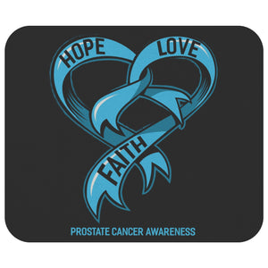 Hope Love Faith Prostate Cancer Mouse Pad Light Blue Ribbon MousePad Gifts Ideas-Mousepads-Black-JoyHip.Com