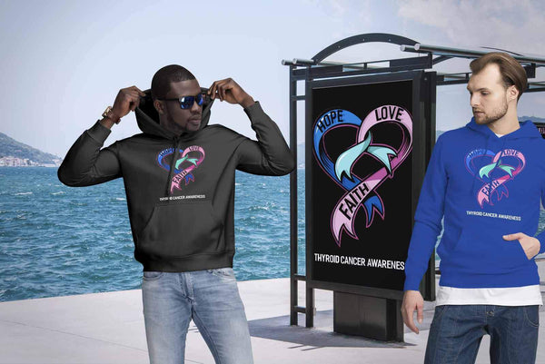Hope Love Faith Thyroid Cancer Awareness Teal Pink & Blue Ribbon Awesome Hoodie-T-shirt-JoyHip.Com
