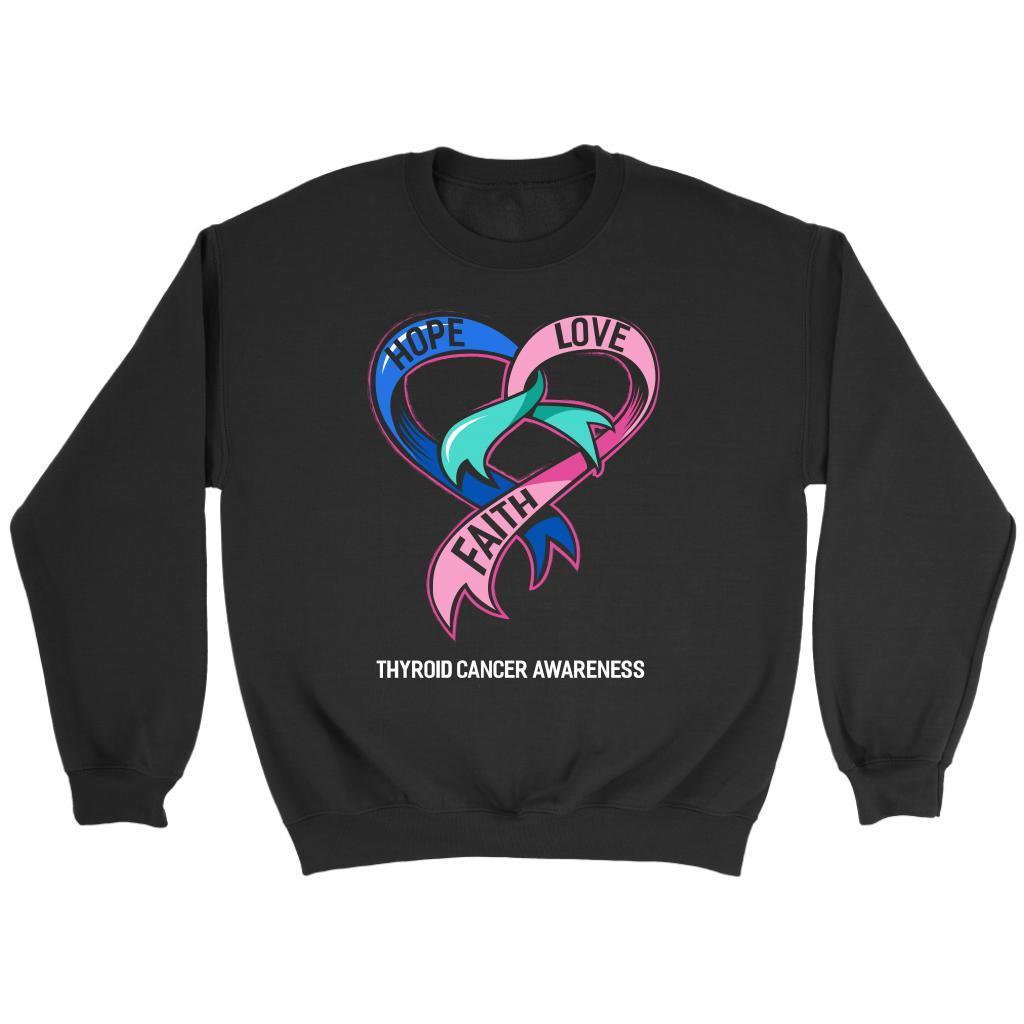 Hope Love Faith Thyroid Cancer Awareness Teal Pink & Blue Ribbon Awesome Sweater-T-shirt-Crewneck Sweatshirt-Black-JoyHip.Com