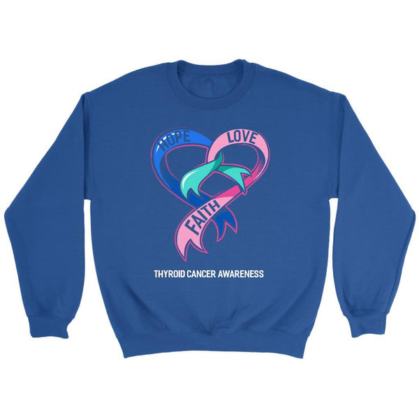 Hope Love Faith Thyroid Cancer Awareness Teal Pink & Blue Ribbon Awesome Sweater-T-shirt-Crewneck Sweatshirt-Royal Blue-JoyHip.Com