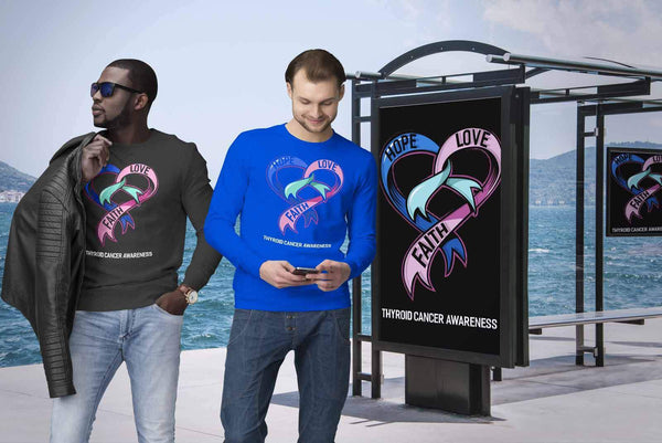Hope Love Faith Thyroid Cancer Awareness Teal Pink & Blue Ribbon Awesome Sweater-T-shirt-JoyHip.Com