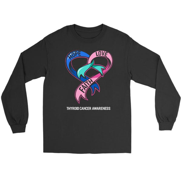Hope Love Faith Thyroid Cancer Awareness Teal Pink Blue Ribbon Gift Long Sleeve-T-shirt-Gildan Long Sleeve Tee-Black-JoyHip.Com