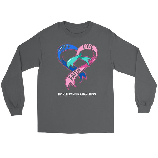 Hope Love Faith Thyroid Cancer Awareness Teal Pink Blue Ribbon Gift Long Sleeve-T-shirt-Gildan Long Sleeve Tee-Grey-JoyHip.Com