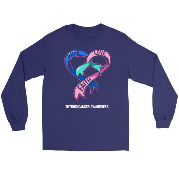 Hope Love Faith Thyroid Cancer Awareness Teal Pink Blue Ribbon Gift Long Sleeve-T-shirt-Gildan Long Sleeve Tee-Purple-JoyHip.Com