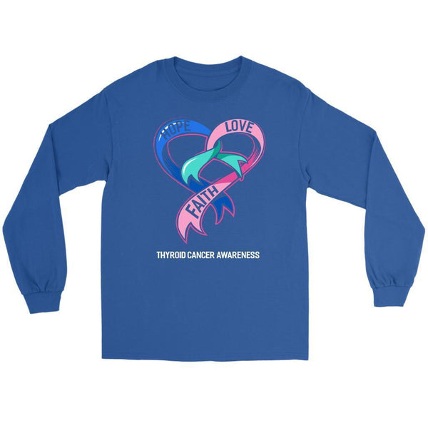 Hope Love Faith Thyroid Cancer Awareness Teal Pink Blue Ribbon Gift Long Sleeve-T-shirt-Gildan Long Sleeve Tee-Royal Blue-JoyHip.Com