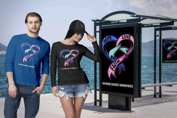 Hope Love Faith Thyroid Cancer Awareness Teal Pink Blue Ribbon Gift Long Sleeve-T-shirt-JoyHip.Com