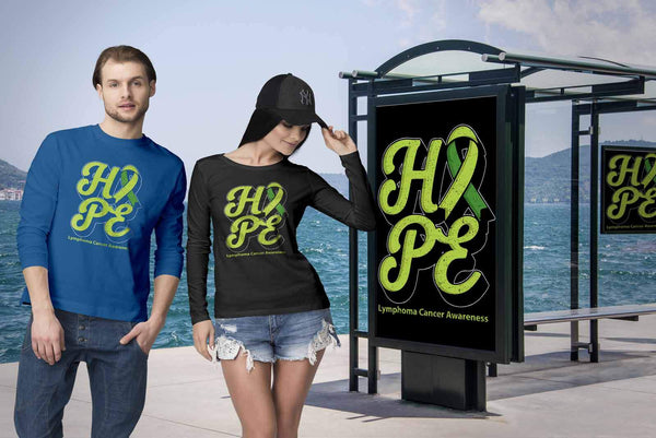 Hope Lymphoma Awareness Lime Green Ribbon Awesome Cool Gift Ideas Long Sleeve-T-shirt-JoyHip.Com