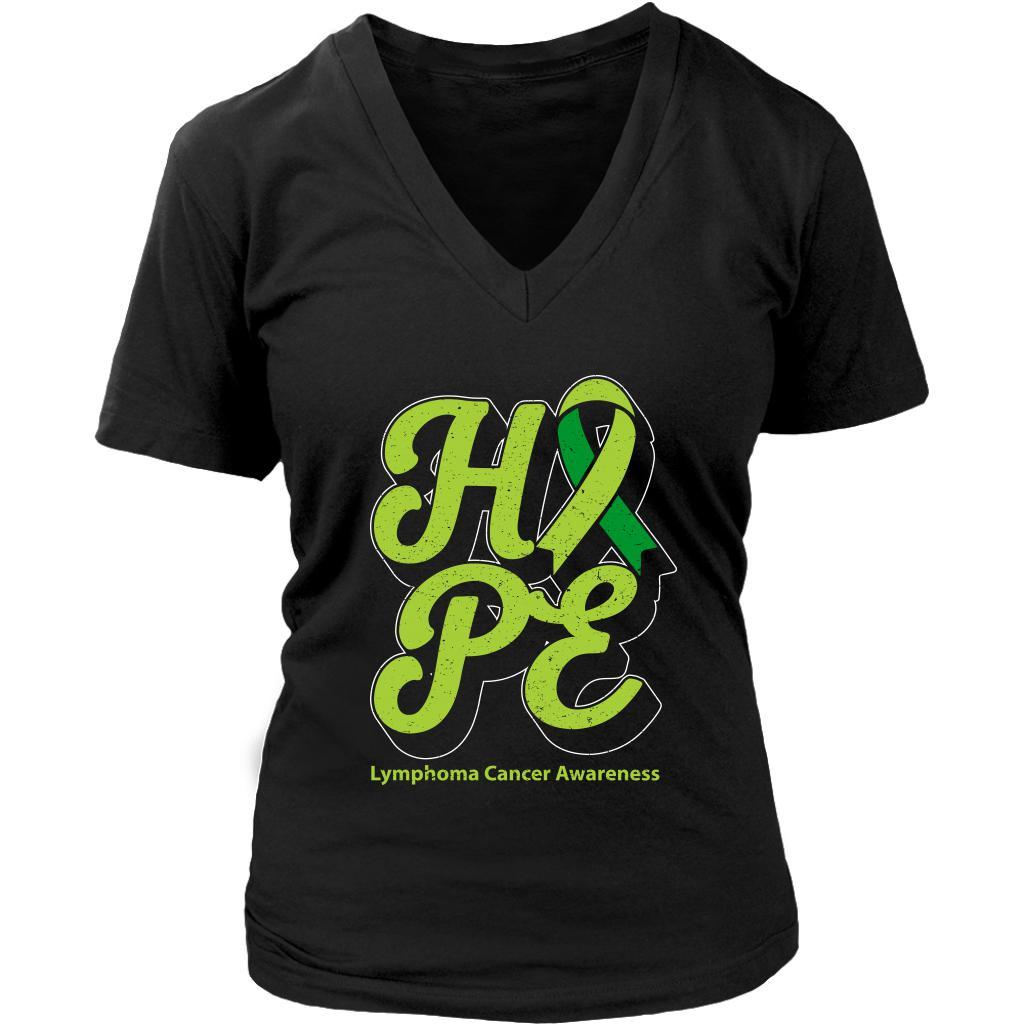 Hope Lymphoma Awareness Lime Green Ribbon Awesome Cool Gift VNeck TShirt-T-shirt-District Womens V-Neck-Black-JoyHip.Com