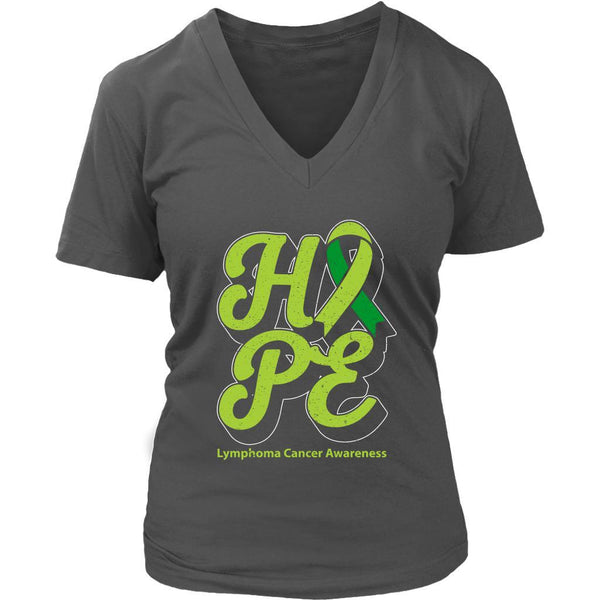 Hope Lymphoma Awareness Lime Green Ribbon Awesome Cool Gift VNeck TShirt-T-shirt-District Womens V-Neck-Grey-JoyHip.Com