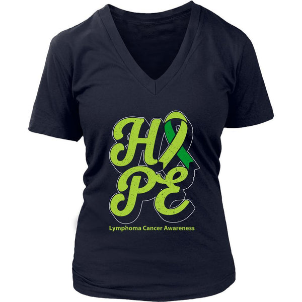 Hope Lymphoma Awareness Lime Green Ribbon Awesome Cool Gift VNeck TShirt-T-shirt-District Womens V-Neck-Navy-JoyHip.Com
