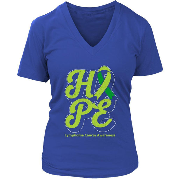 Hope Lymphoma Awareness Lime Green Ribbon Awesome Cool Gift VNeck TShirt-T-shirt-District Womens V-Neck-Royal Blue-JoyHip.Com