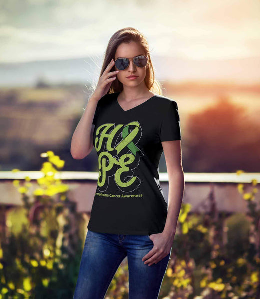 Hope Lymphoma Awareness Lime Green Ribbon Awesome Cool Gift VNeck TShirt-T-shirt-JoyHip.Com