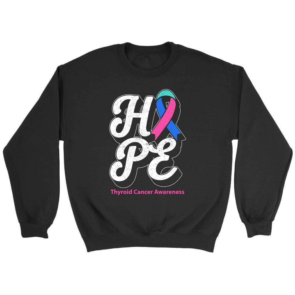 Hope Thyroid Cancer Awareness Teal Pink & Blue Ribbon Awesome Cool Gift Sweater-T-shirt-Crewneck Sweatshirt-Black-JoyHip.Com