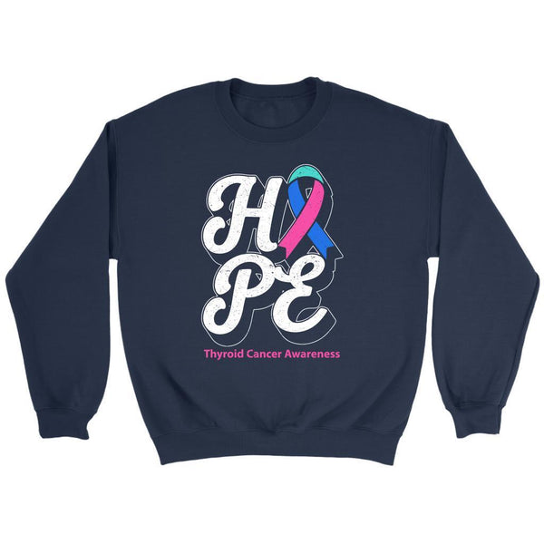 Hope Thyroid Cancer Awareness Teal Pink & Blue Ribbon Awesome Cool Gift Sweater-T-shirt-Crewneck Sweatshirt-Navy-JoyHip.Com