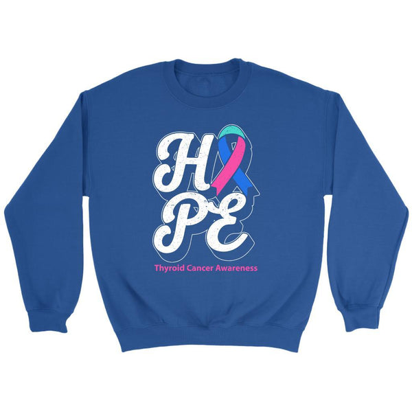 Hope Thyroid Cancer Awareness Teal Pink & Blue Ribbon Awesome Cool Gift Sweater-T-shirt-Crewneck Sweatshirt-Royal Blue-JoyHip.Com