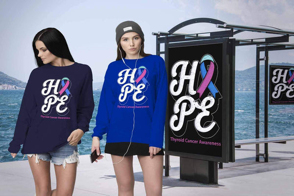 Hope Thyroid Cancer Awareness Teal Pink & Blue Ribbon Awesome Cool Gift Sweater-T-shirt-JoyHip.Com