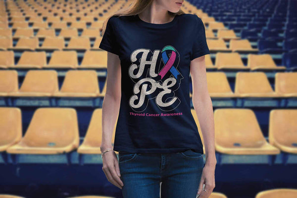 Hope Thyroid Cancer Awareness Teal Pink & Blue Ribbon Awesome Gift Women TShirt-T-shirt-JoyHip.Com