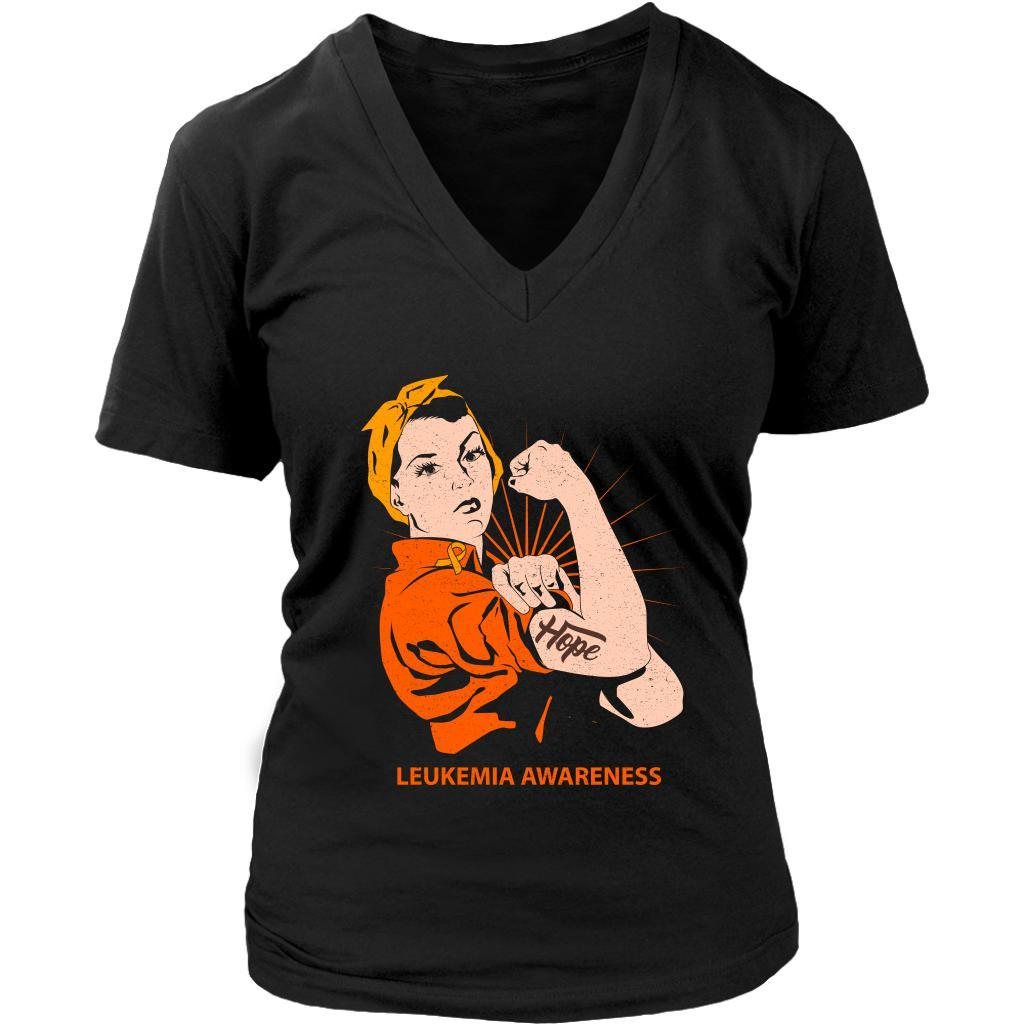Hope We Can Do It Leukemia Awareness Awesome Cool Soft Women V-Neck-T-shirt-District Womens V-Neck-Black-JoyHip.Com