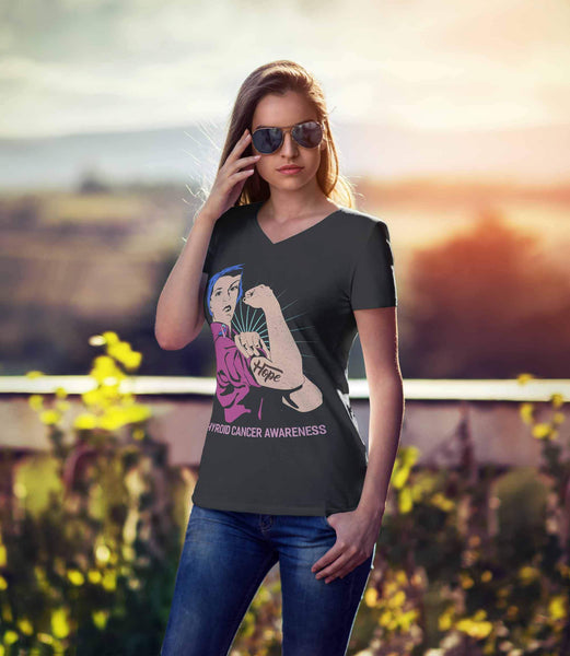 Hope We Can Do It Thyroid Cancer Awareness Awesome Cool Gift VNeck TShirt-T-shirt-JoyHip.Com