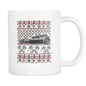 Hot Rod Motorhead Ugly Christmas Sweater White 11oz Coffee Mug-Drinkware-Ugly Christmas Sweater White 11oz Coffee Mug-JoyHip.Com
