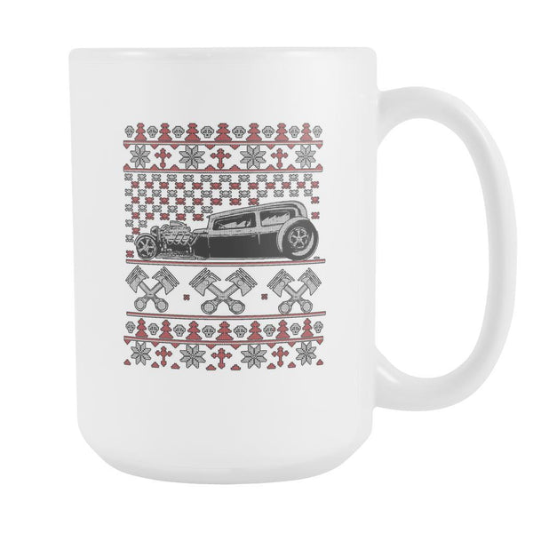 Hot Rod Motorhead Ugly Christmas Sweater White 15oz Coffee Mug-Drinkware-Ugly Christmas Sweater White 15oz Coffee Mug-JoyHip.Com