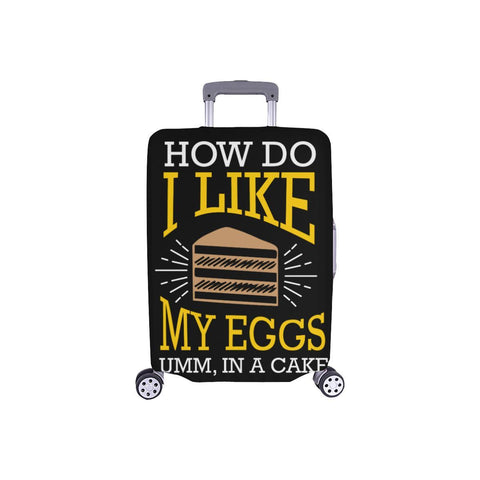 "How Do I Like My Eggs Umm In A Cake Funny Travel Luggage Cover Protector 18""-28""-S-Black-JoyHip.Com"