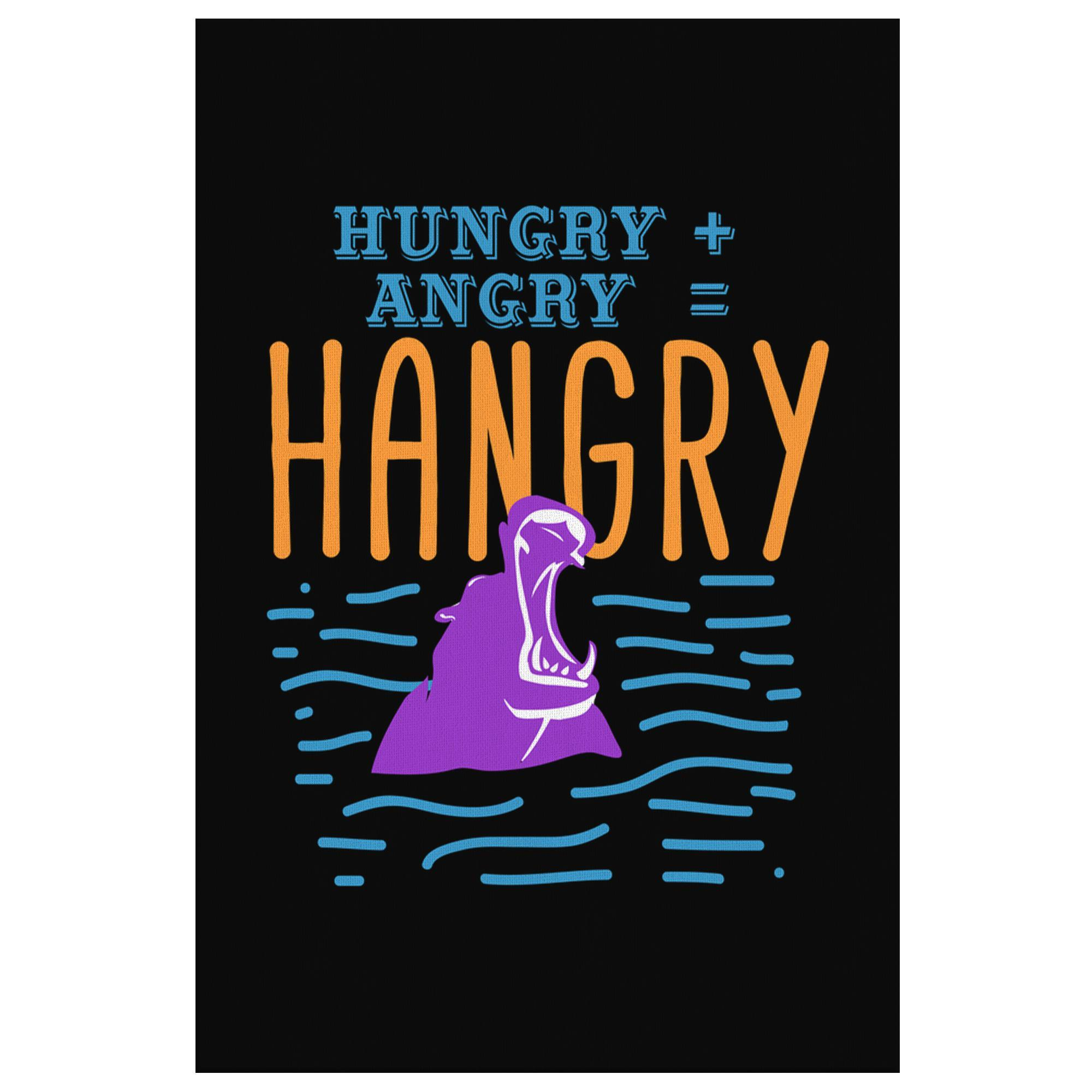 Hungry + Angry = Hangry Hippo Canvas Wall Art Room Decor Funny Gift Ideas Humor-Canvas Wall Art 2-8 x 12-JoyHip.Com