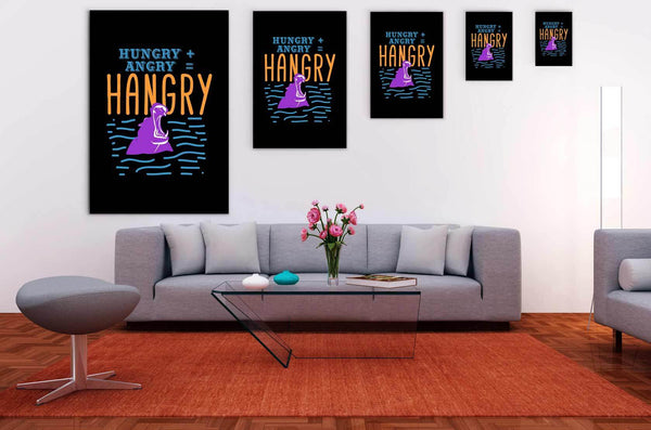 Hungry + Angry = Hangry Hippo Canvas Wall Art Room Decor Funny Gift Ideas Humor-Canvas Wall Art 2-JoyHip.Com