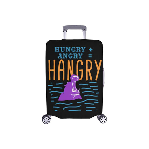 "Hungry Angry Hangry Hippo Funny Travel Luggage Cover Suitcase Protector 18""-28""-S-Black-JoyHip.Com"