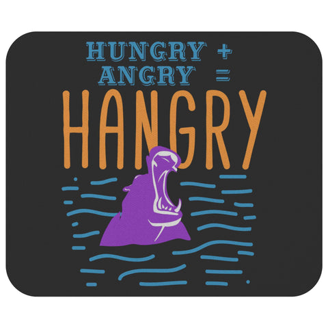 Hungry + Angry = Hangry Hippo Mouse Pad Unique Snarky Funny Humor Gift Ideas-Mousepads-Black-JoyHip.Com