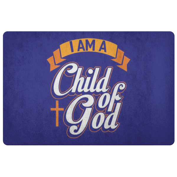 I Am A Child Of God 18X26 Door Mat Unique Christian Gift Ideas Religious Present-Doormat-Navy-JoyHip.Com