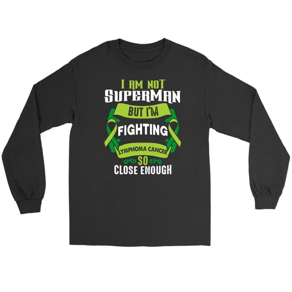 I Am Not Superman But Im Fighting Lymphoma So Close Enough Gift Long Sleeve-T-shirt-Gildan Long Sleeve Tee-Black-JoyHip.Com